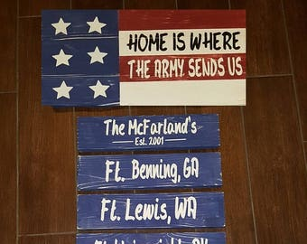Home Is Where the Army Sends Us Handmade Wood Sign
