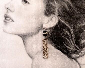 Silver Earrings, Statement Jewellery, Contemporary earrings, special gift, tribal, heirloom jewellery, boho jewellery, UK shop, Dzi bead