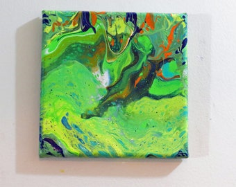 Abstract Acrylic  No  10  Painting 6 x 6 Green-Orange-Aqua-Yellow-Original-Home Decor-Canvas-Wedding Gift-Affordable-Acrylic Pour Technique