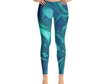 Printed Leggings Marble Leggings Unique Leggings Yoga Leggings Blue Green Patterned Leggings Yoga Pants Surf Leggings Swimming Tights