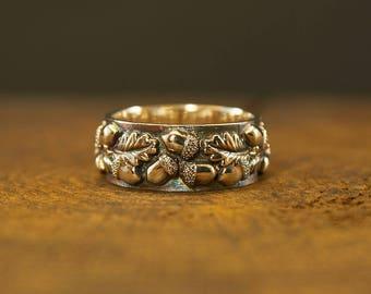 Silver Oak Ring, Acorn Ring, Tree Silver Ring, Sterling Oaken Ring, Nature Inspired, Oak Leaf Pattern, Woodland Ring, Leaf Ring, Nature Ring