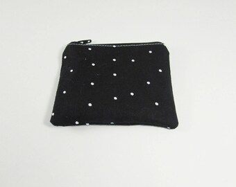 Coin Purse - Ready to Ship - Black with white Dots Coin Purse - Change Purse - Small Credit Card Wallet - Zip Money Bag