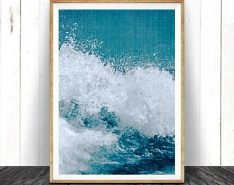 Beach Decor, Ocean Wave Art Print, Coastal Printable Art, Turquoise Blue Aqua Art, Instant Download, Ocean Water Wall Art, Water Photography