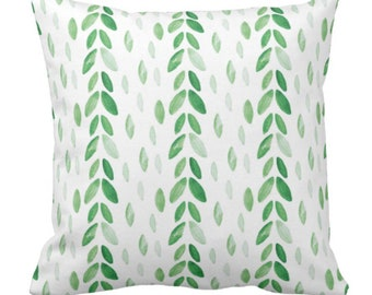 Watercolor Botanical Green Leaves Throw Pillow