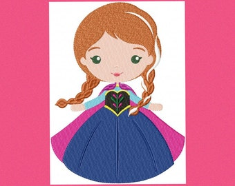 Anna embroidery design frozen embroidery designs machine embroidery pattern disney princess applique design girl embroidery instant download