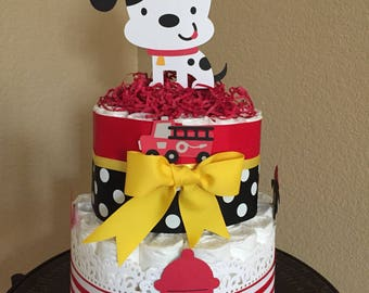 Baby Boy Firetruck/Dalmation Diaper Cake/Baby Boy Shower/Firetruck Diaper Cake/Boy Mother To Be Gift/ Diaper Cake Centerpiece for Boy