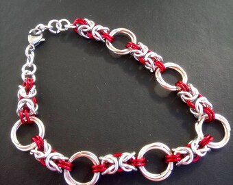 Byzantine weave bracelet in red and silver