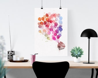 Disney Pixar Up Flying House With Balloons Watercolor Splatter Art Print