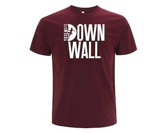 Burgundy unisex organic cotton T-shirt DOWN WALL