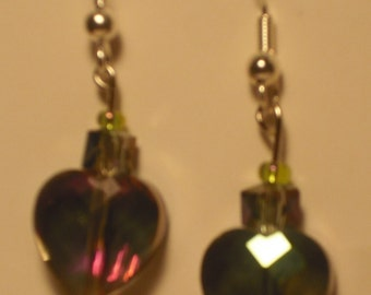 Glass hearts with silver glass bead.