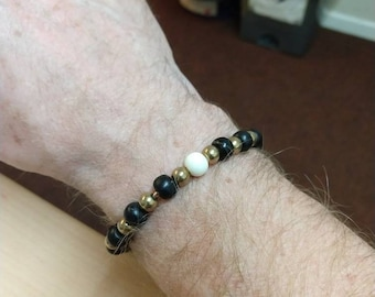 Brass and bead bracelet