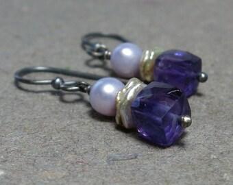 Purple Amethyst Earrings Geometric Jewelry February Birthstone Lavender Pearls Oxidized Sterling Silver Earrings Gemstone Cubes