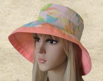 Suns hats cotton, Summer womens hats, Hats large brim,  Corral fabric hats, Women's cloche hats, Sun hat for beach, Flapper hats women