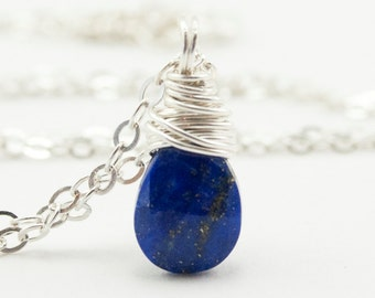 Lapis Necklace, Lapis Lazuli Jewelry in Sterling Silver. Mothers Gift. Dark Blue Gemstone Necklace.  Pendant Necklace.