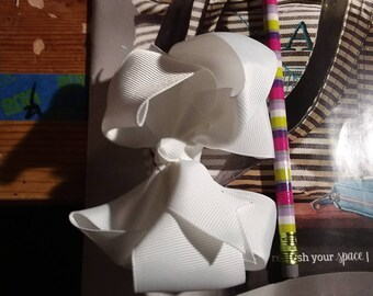 Winter White Double Layered Boutique Bow