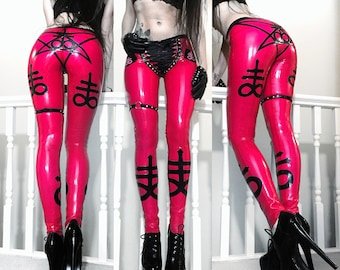 READY TO SHIP. Sulfur studded latex cigarette pants size s