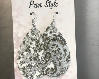 White, Brown and Silver Paisley Leather Earrings