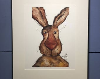 Rabbit Watercolor 8x10 Print (unframed)