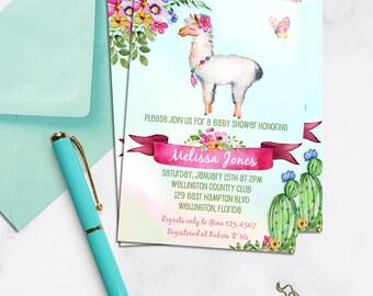 Llama Baby Shower Invitation, Cactus Baby Shower Invitation, Fiesta Baby Shower, Cactus invite, Llama Party Invites, Cactus Invitations