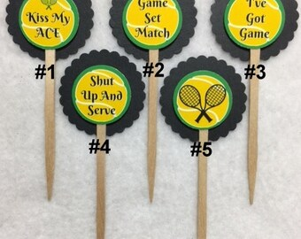 Set Of 12 Personalized Tennis Cupcake Toppers (Your Choice Of Any 12)