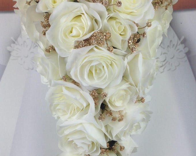 "New Artificial White and Gold Wedding Teardrop Bouquet, 18"" in length with Gold Baby's Breath and White Roses"