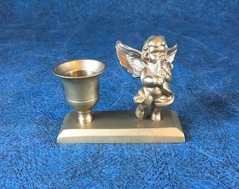 Vintage Brass Cherub Candlestick Holder, Musical Angel