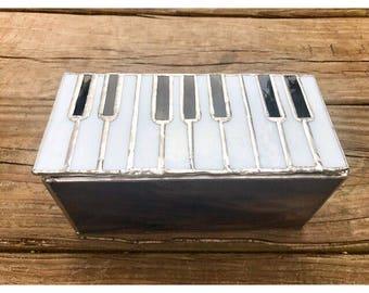 Stained glass jewelry box, piano jewelry box