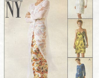 90s NY NY Womens Dress and Slipdress in 2 Lengths Lagenlook Patterns McCalls Sewing Pattern 9339 Size 10 12 14 Bust 32 1/2 to 36 UnCut