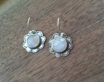 Rainbow Moonstone and Sterling Silver Earrings