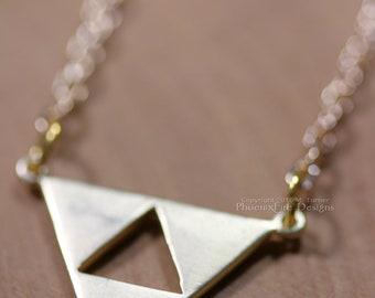 "Gold Triangle Necklace, Open Triangle, Minimalist Geometric Shape Jewelry, Small Triforce Pendant, Satin Hamilton Gold, 17"" Thin Gold Chain"