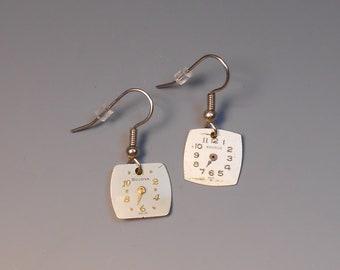 Steampunk Earrings Watch Dial Shepherd Hook Recycled Wrist Watch Face Earrings Elgin