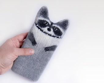 Google Pixel 2 case, Google Pixel 2 xl felt sleeve, Raccoon phone cases,  Unique phone sleeve, Eco friendly wool case