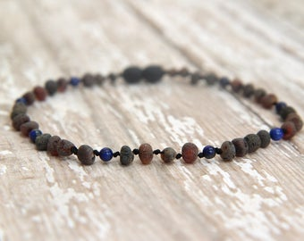 Baltic Amber Teething Necklace, Lapis Lazuli, unpolished raw baltic amber, natural pain relief, beaded necklace, gemstone jewelry