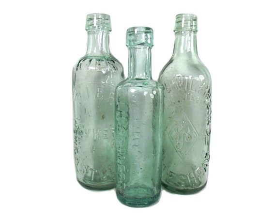 "10"" Tall English Antique Set of 3 Aqua Mineral Water Bottles"