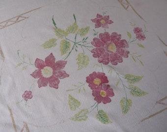 """Vintage Table Cloth Painted Red Briar Rose 43"""" x 47"""""""