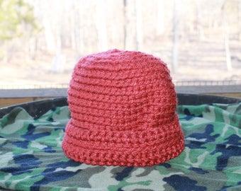 cloche crocheted hat handmade in USA rusty brickyard red
