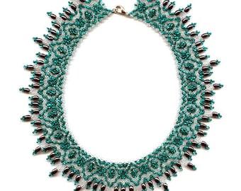 SALE Beginner pattern seed beaded necklace instructions beading netting stitch tutorial beading patterns beadwork jewelry beads design