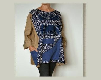 Women's kimono tunic poncho, plus size tunic kimono, large poncho kimono, autumn cape caftan,oversize tunic with pockets,poncho with sleeves