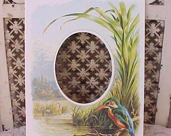 Charming Vintage Picture Mat with Pond Scene, Kingfisher and Rushes
