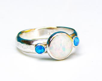 Opal ring, White opal and Blue opal Gemstone ring, Back to school silver ring , Engagement Ring, anniversary ring, stacking ring, gift idea