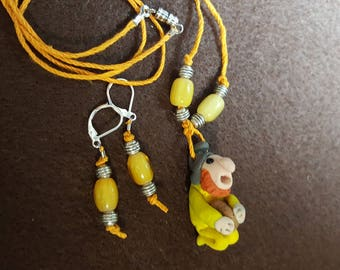 """Gnome """"Richard"""" Necklace and Earrings"""