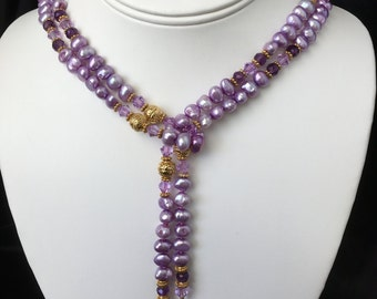 Lavender Genuine Cultured Pearl and Amethyst Lariat Necklace and Earrings Set