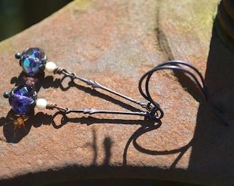 Purple and Bronze Earrings Czech Glass and Brass Jewelry