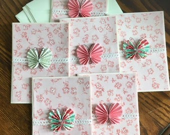 Handmade Greeting Card -Butterfly Greeting Cards, pack of 6