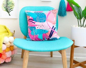 Abstract Cactus Print Throw Pillow