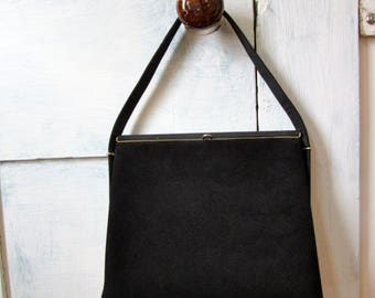 50s Black Handbag - Early 60s Purse - Handle Bag - Pocketbook - Satin - Suede
