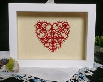 Heart Decor in Red Tatting, Tatted, Lace Heart, Wedding Gift, Mother's Day, Anniversary Gift, Heart Wall Art, Romantic Gift, Gift For Her