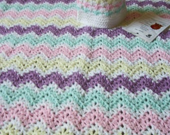 Striped Crocheted Baby Blanket with Matching Cap