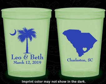 Palmetto Tree, Printed Glow Cups, Crescent Moon, South Carolina Palmetto, SC Palmetto Tree, Palmetto Moon, Glow-in-the-Dark (76)