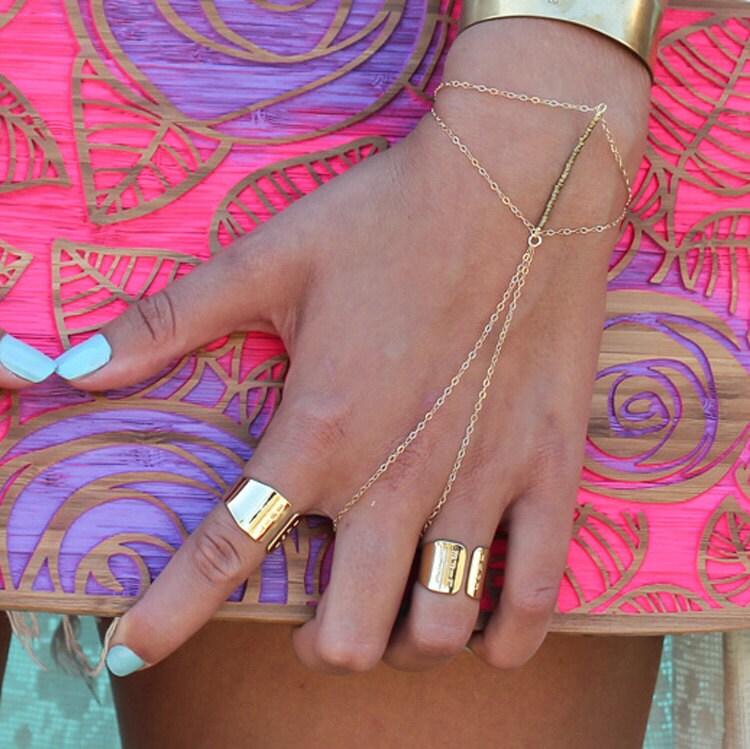 Gold Ring and Bracelet bo Boho Gold Bracelet finger